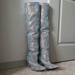 Shoes - Rhinestone Thigh High Boots